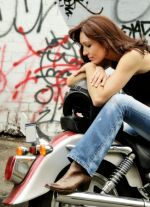 Woman with motorbike